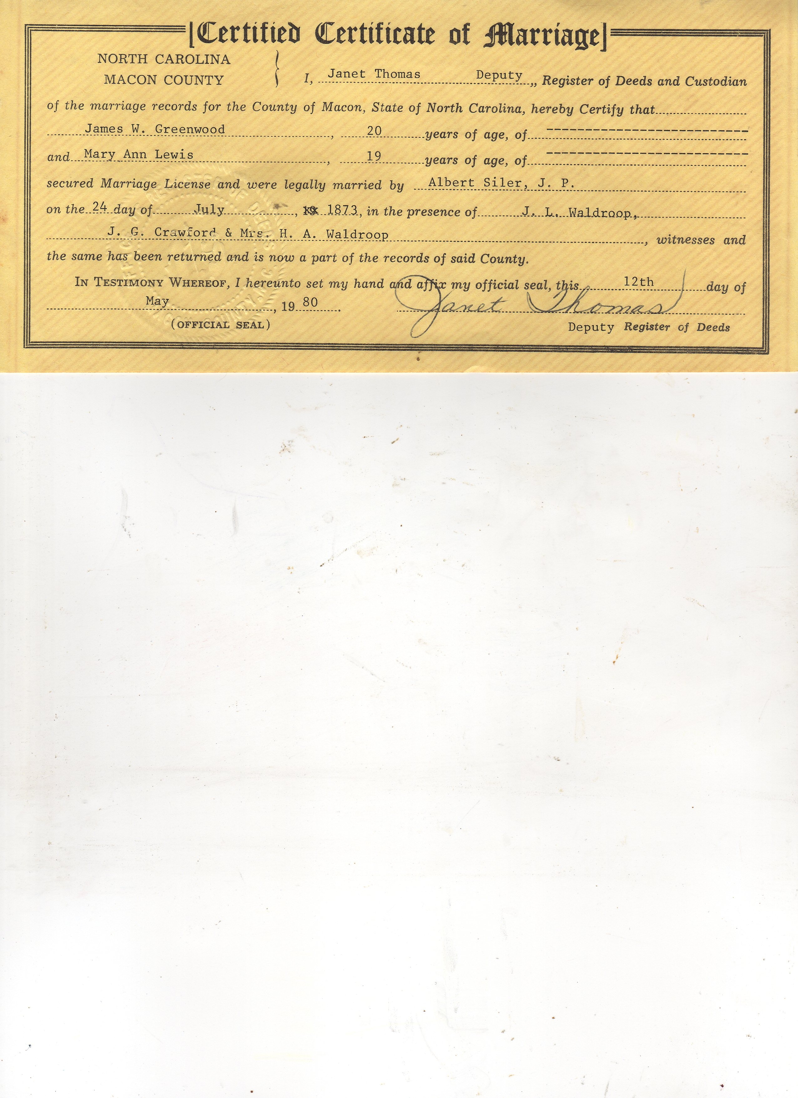 The greenwood family genealogy records james franklin greenwoods aiddatafo Images