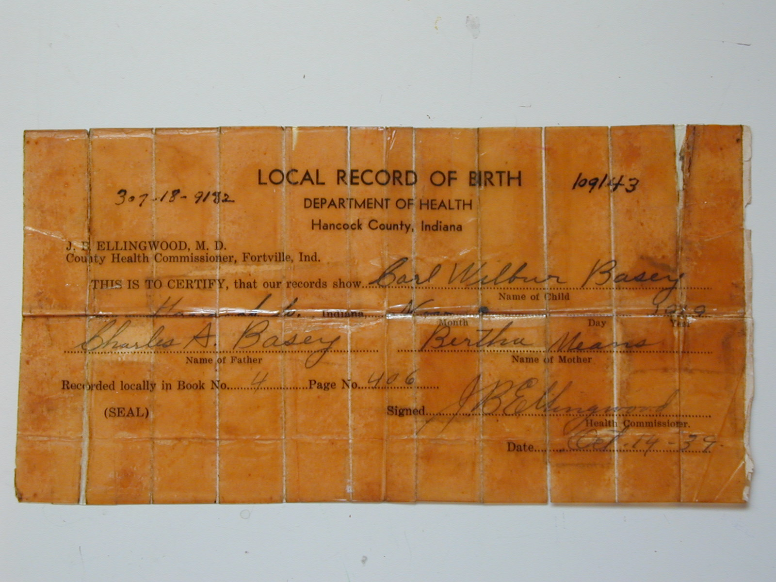 Genealogy pictures carl w basey does not have a valid birth certificate according to the state of indiana however he does have a local birth certificate which he carried aiddatafo Image collections